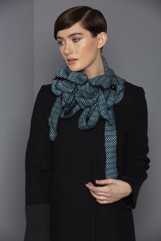 Pammy - Blue Chevron Collar Scarf