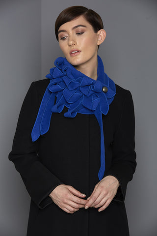 Ellie - Royal Blue Fleece Collar Scarf