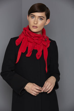 bold red scarf for winter