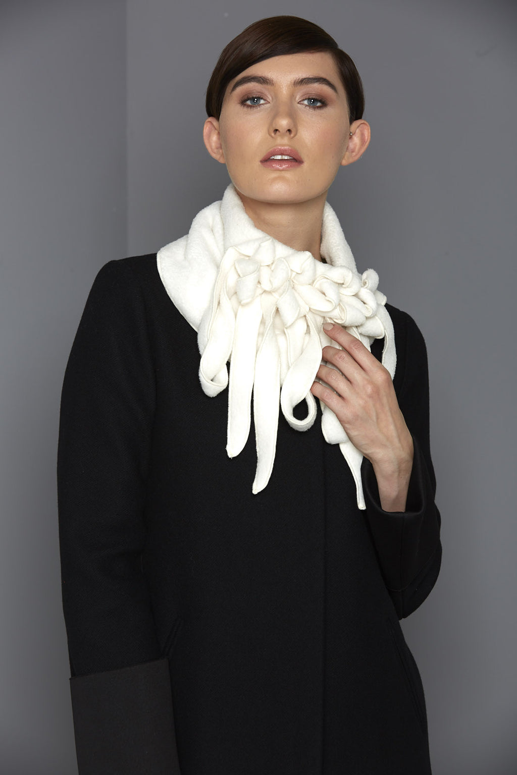 winter white fleece scarf