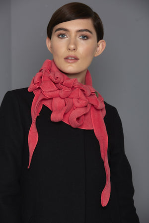 bright pink fleece scarf