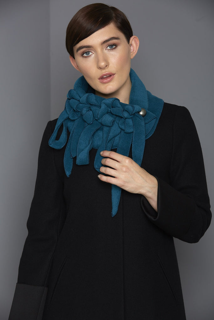 petrol blue fleece scarf