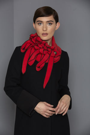red and black unusual button scarf