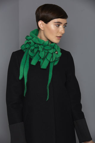 Minstral - Green with Black Stitching Collar Scarf