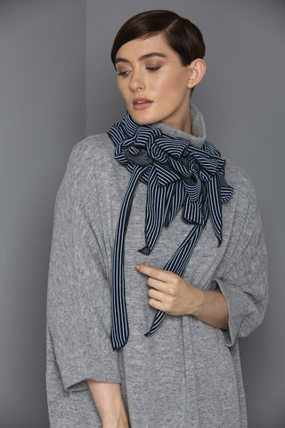 Jamie - Blue/Navy Striped Collar|Scarf