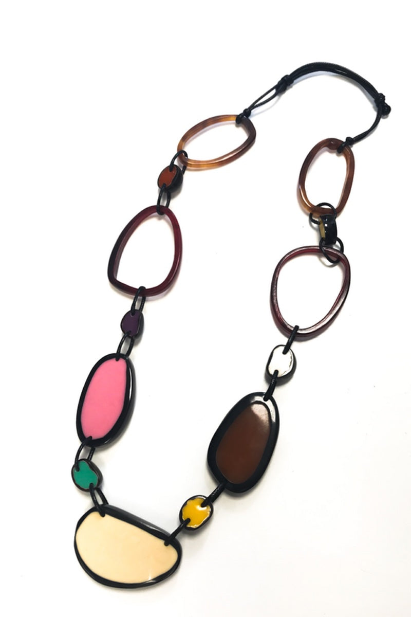 long resin necklace brown pink green yellow purple