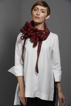 Red tartan scarf by rew