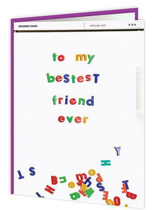 bestest friend multi coloured card