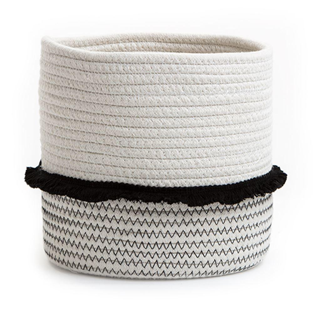 Medium Cotton Rope Storage Basket With Black Frill