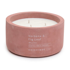 Dusty Plum Verbena and Fig Leaf Concrete Candle