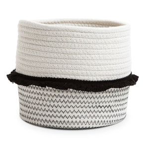 Small Cotton Rope Storage Basket With Black Frill