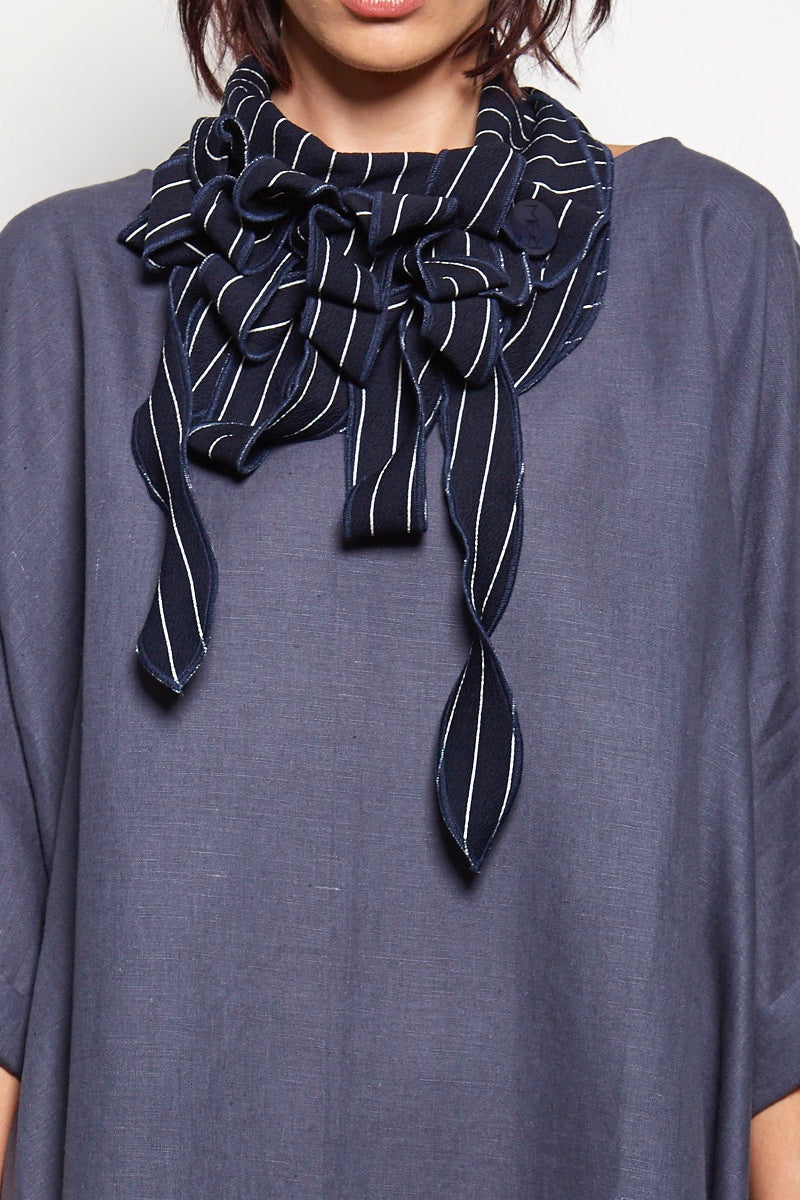 Evion - Breton Striped Navy Scarf