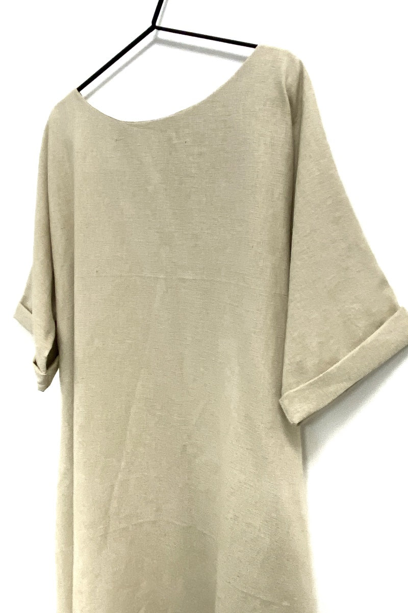 beige flared linen dress