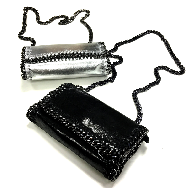 small silver and black bags