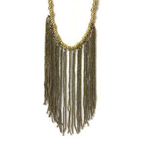 gold beaded strand necklace