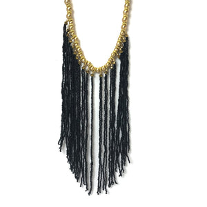 black and gold beaded strand necklace