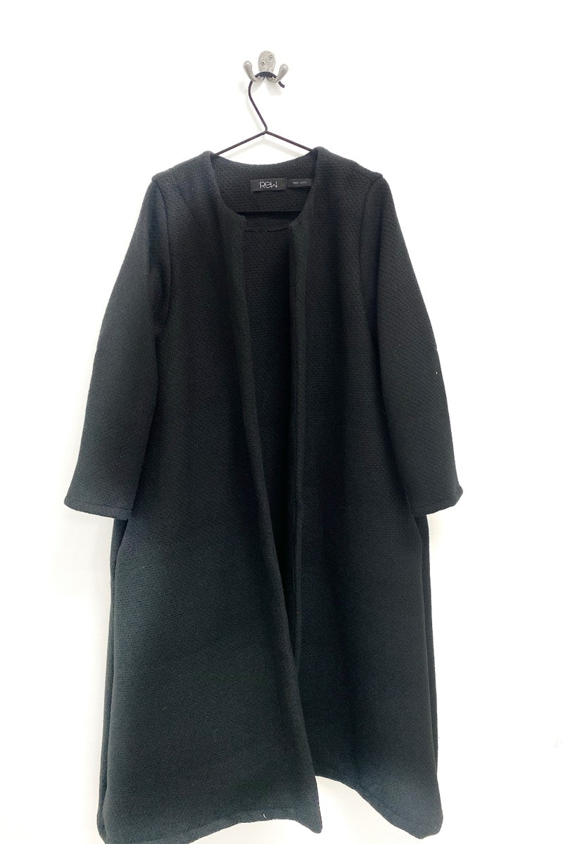 Black wool flared duster coat rew clothing