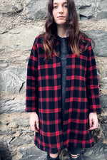 plaid red and black jacket