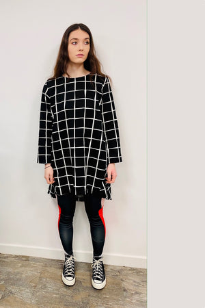 Drape Backed  Dress Monochrome - Long Sleeved