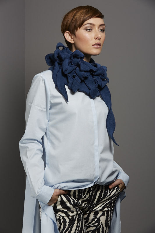 denim blue collar scarf
