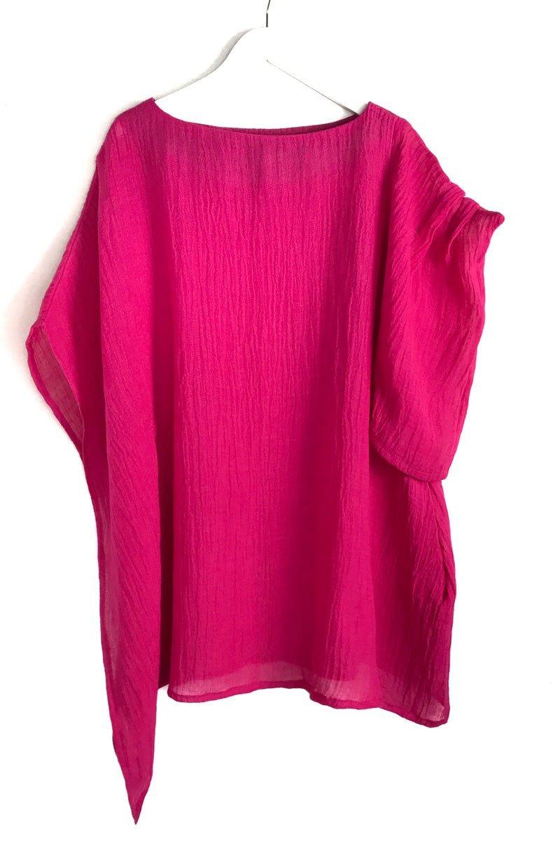 Bright pink summer loose fit tunic