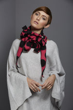 pink and black spot fleece scarf