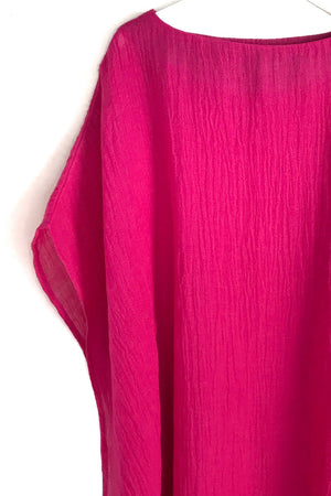 Unusual bright pink tunic dress
