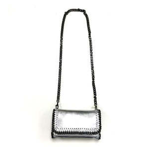 silver chain clutch with detachable strap