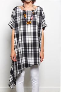 unusual checked asymmetrical top