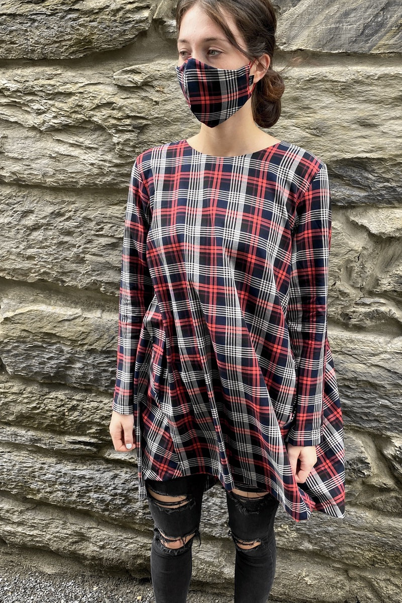 Checked Game Board Dress - Long Sleeved