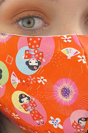 Fabric Face Mask - Chinese Doll Print