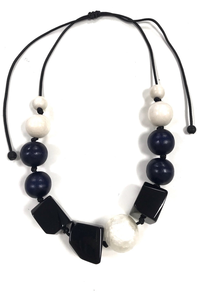 Rox - Chunky Navy + Black Adjustable Necklace