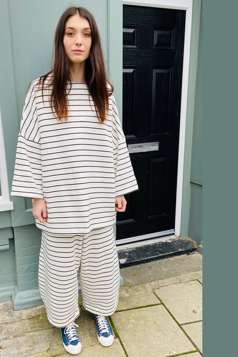 Organic Cotton Cream + Black Stripe Lounge Trousers