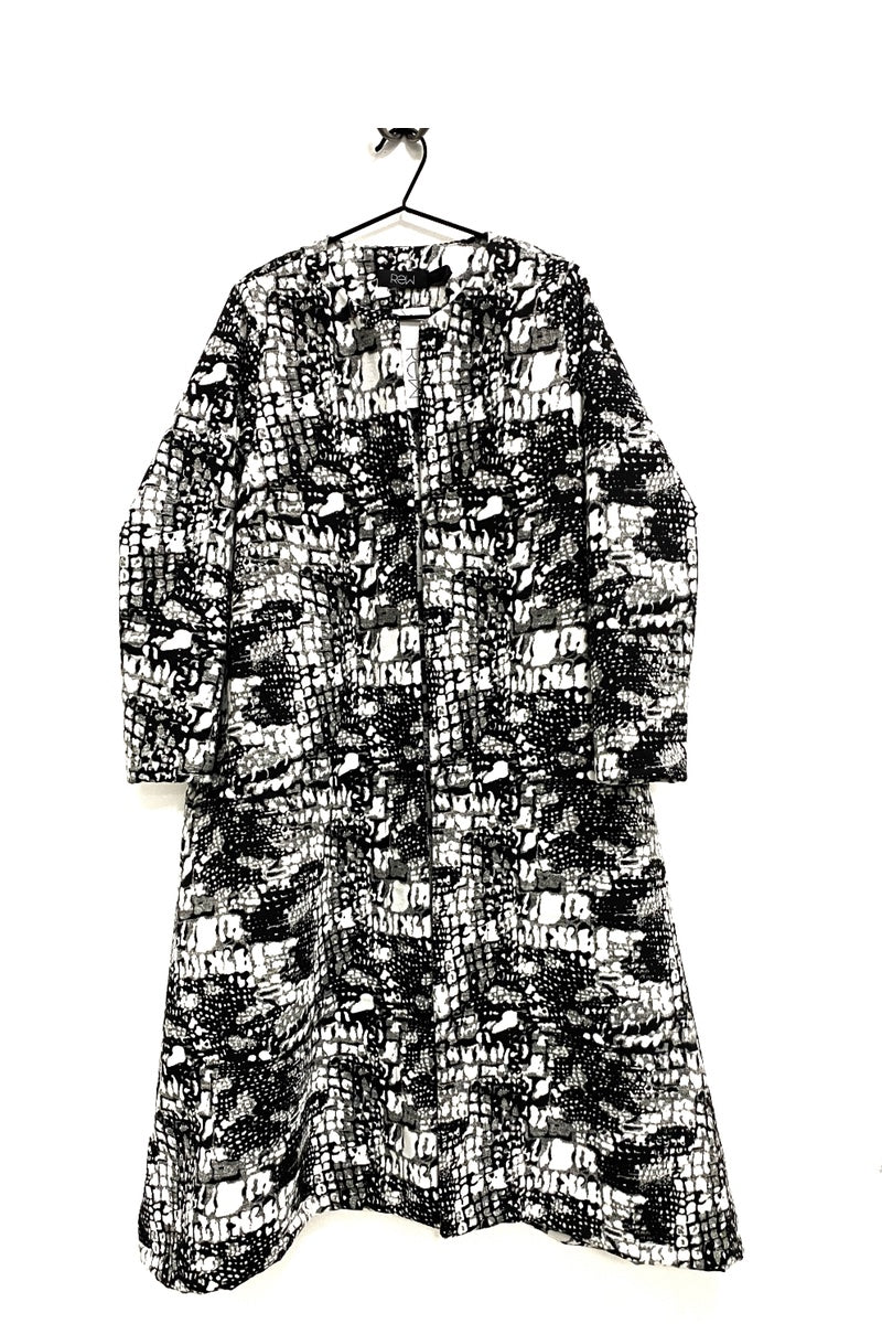 Croc Splodge Bold Monochrome Duster Coat