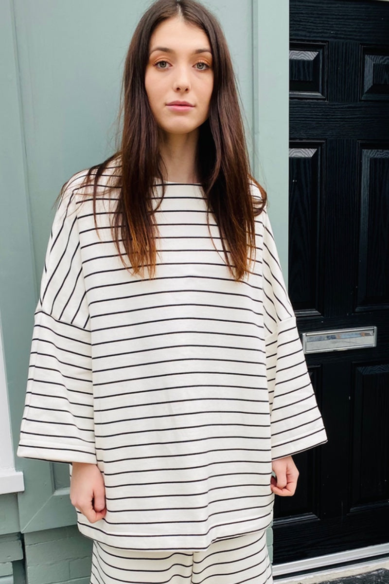 Organic Cotton Cream + Black Striped Lounge Top