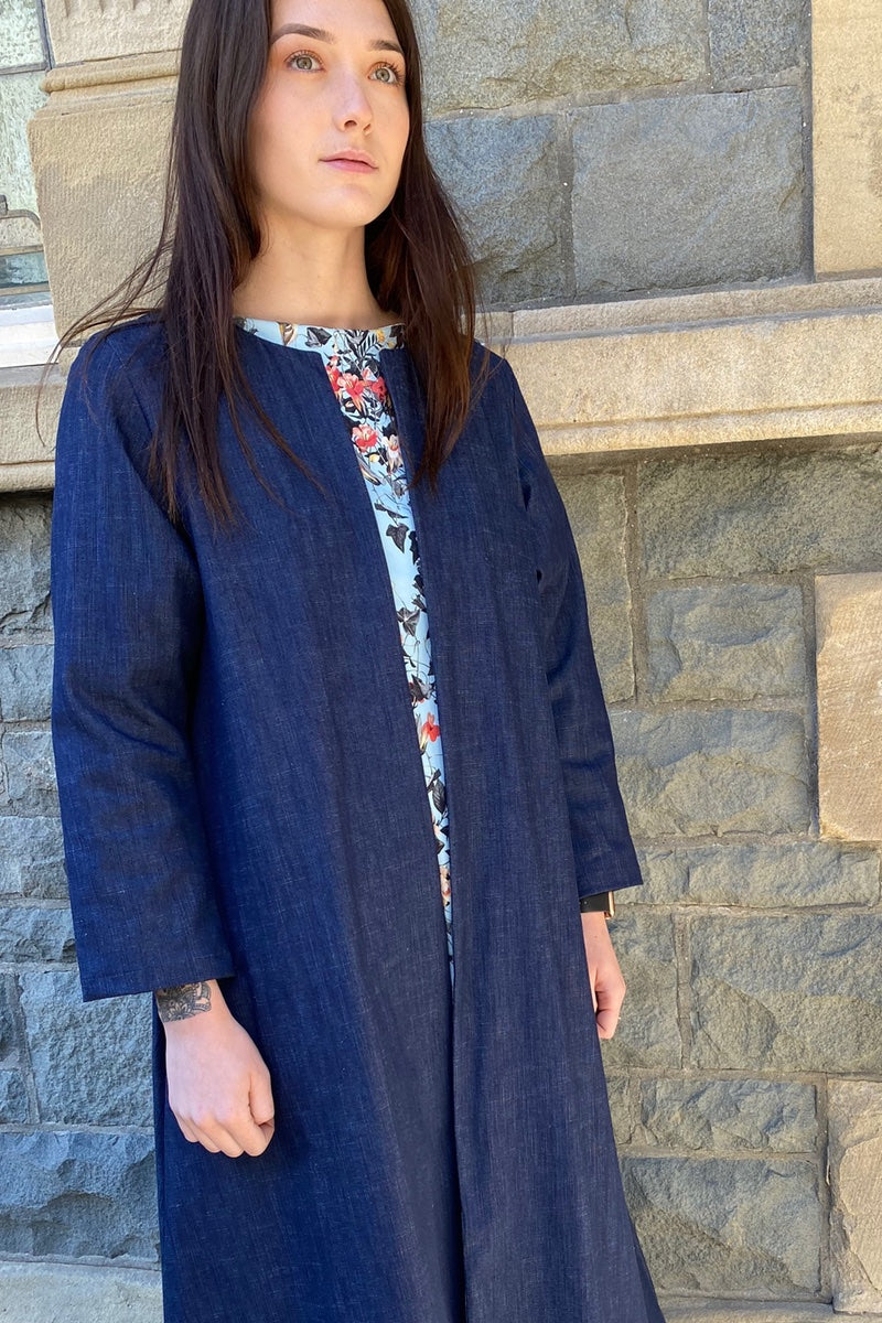Fit & Flare Denim Duster Coat