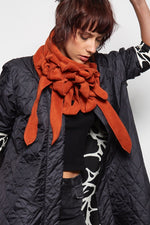 Rust fleece rew scarf unusual button and go collars