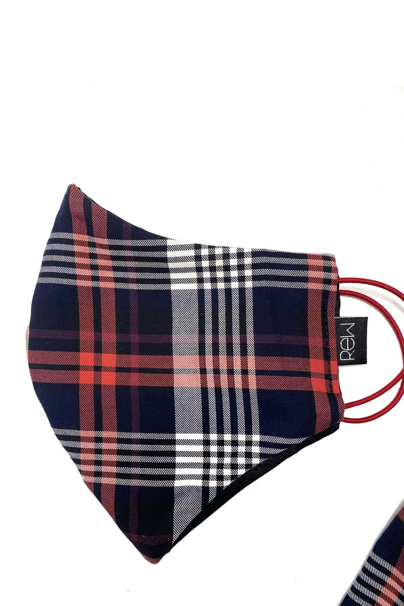 Unisex 3 Ply Face Mask - Covering - Red & Navy Tartan