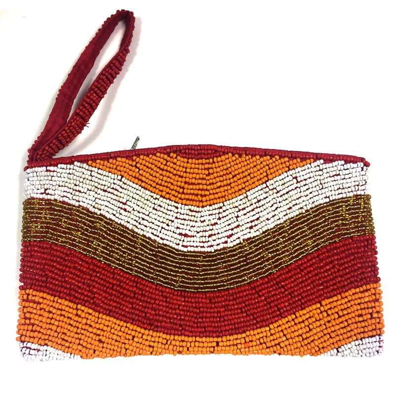 multi coloured beaded clutch