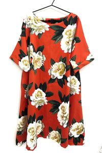 unusual flared fit floral dress bright orange
