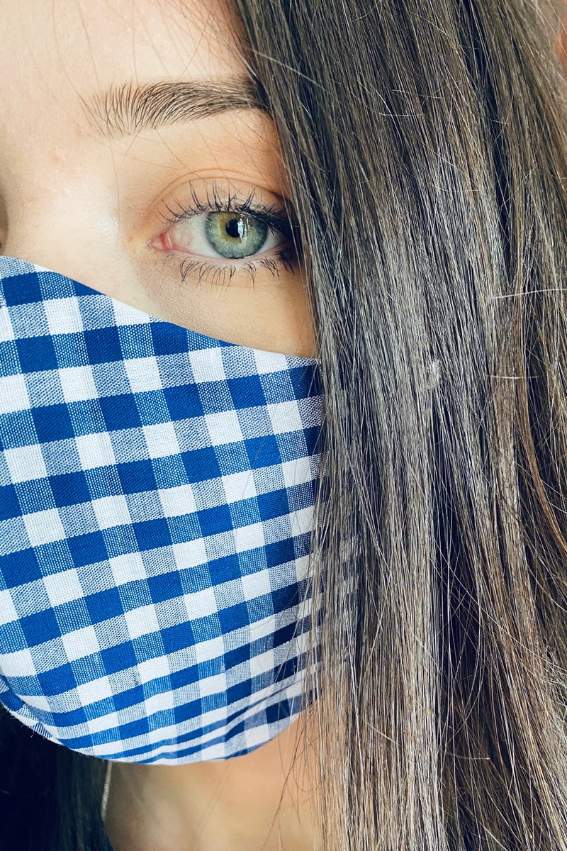 gingham face covering made in uk
