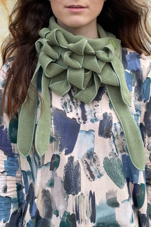 warm cosy collar scarves in green