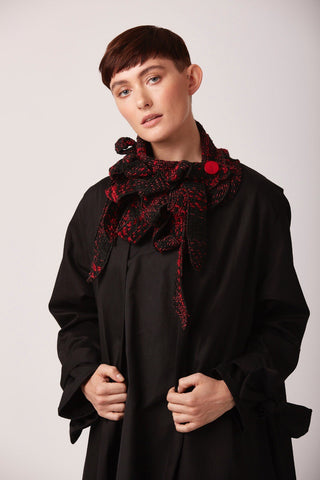 Chyna - Red tweed collar scarf
