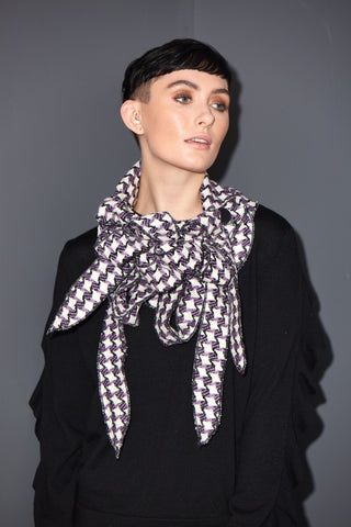 Luna - Lavender and Cream checked scarf