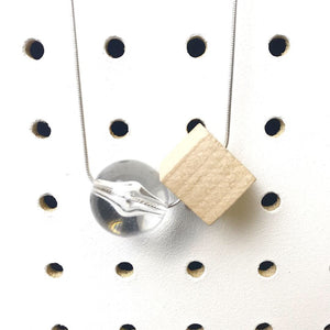 clear and wood silver chain necklace