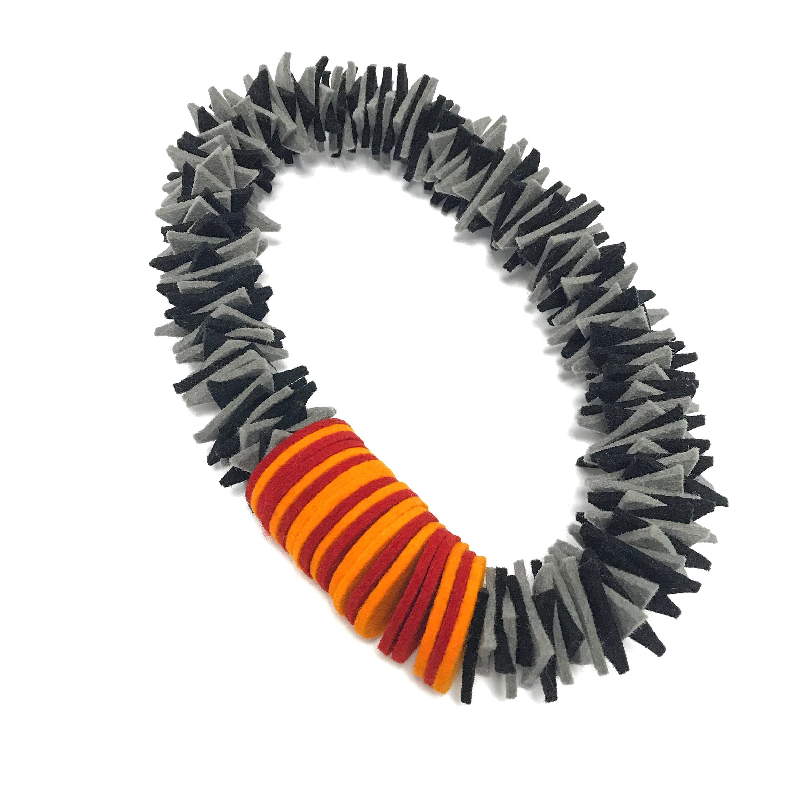 grey layer shape necklace orange and red chunky and bold unusual stunning gift