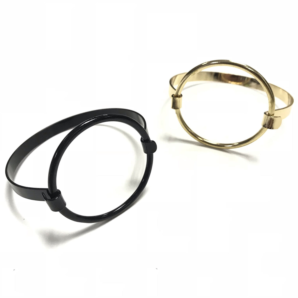 gold and black disc bracelet