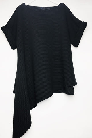Polly - Black jersey rib Asymmetrical top