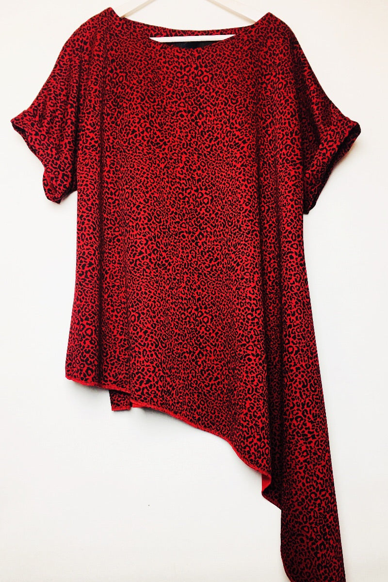 red drape asymmetrical rew top