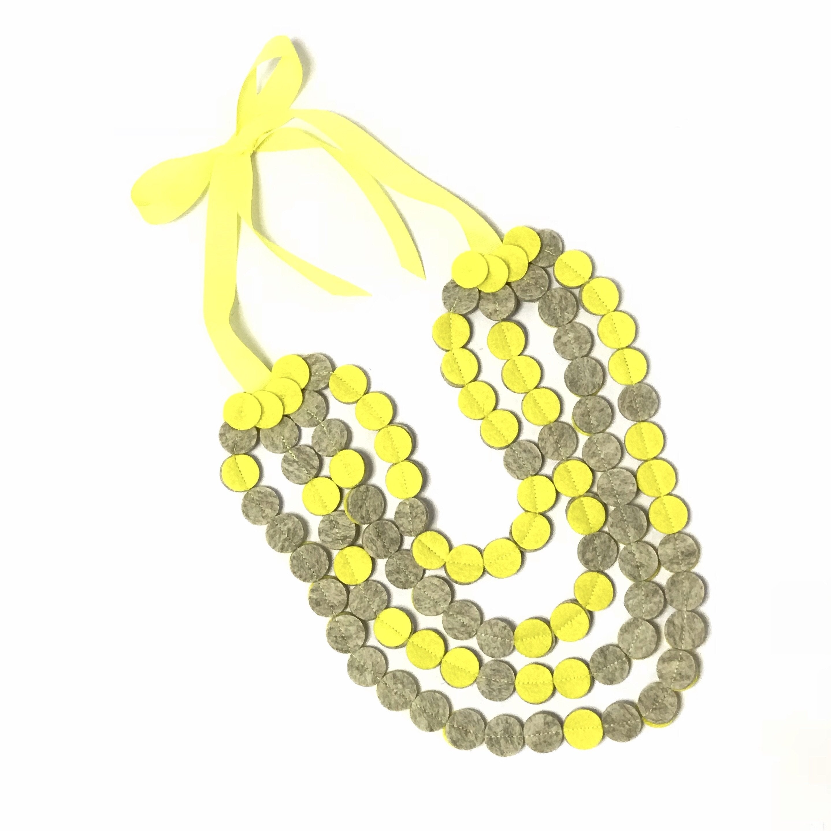 layer felt disc necklace self tie canary yellow grey wedding accessory